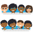 young multiracial teens having fun in outdoor vector image vector image