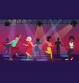 cartoon multi ethic people dancing in vector image
