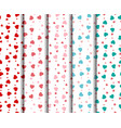 set of seamless heart pattern vector image
