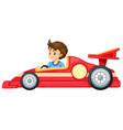 a boy driving a car vector image vector image