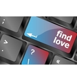 A keyboard with a find love button - social vector image