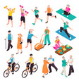 active senior people set vector image vector image
