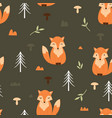adorable little fox seamless pattern vector image
