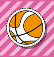 basketball ball sport patch sticker vector image vector image