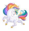 beautiful unicorn with rainbow mane vector image vector image