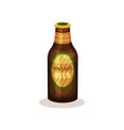 beer in glass bottle with label vintage beverage vector image