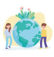 boy and girl with world flowers foliage protect vector image vector image