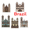 brazilian architecture travel landmark linear icon vector image vector image