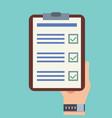 businessman hands holding clipboard checklist vector image