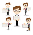 businessman in different poses with an envelope vector image vector image
