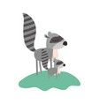 cartoon raccoon mom and cub over grass in colorful vector image vector image
