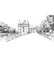castle azay-le-rideau france hand drawn sketch vector image vector image