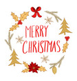 christmas and new year greeting card with wreath vector image vector image