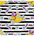 christmas striped seamless pattern cartoon dog vector image vector image