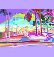 colorful original digital painting of rural winter vector image vector image