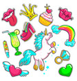 comic colorful patches set vector image vector image