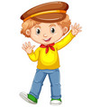 cute boy waving hand vector image vector image