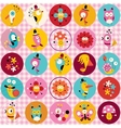 cute characters animals flowers circles nature vector image vector image