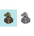 dinosaur character in coat allosaurus tyrex vector image