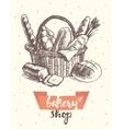 Draw vintage basket fresh bread bakery shop vector image vector image