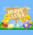 easter birds and eggs with sign vector image