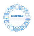 electronics circle poster with flat line icons vector image vector image