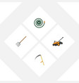 flat icon garden set of hosepipe hay fork cutter vector image vector image