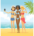 girls on beach - cartoon people character vector image