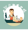 grocery store cashier at work vector image