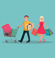happy family couple with shopping man with a vector image vector image