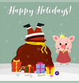 happy new year and merry christmas cute pig vector image vector image