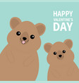 happy valentines day two quokka head face vector image vector image