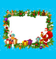 holiday frame for merry christmas with santa claus vector image