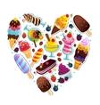 Ice cream heart vector image vector image