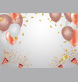 living coral colour and confetti helium balloon vector image vector image