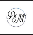luxury curved initial d m letter logo design vector image vector image