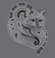 monochrome ornamental cat 10 vector image