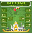 Nation of Brunei infographics statistical data vector image vector image