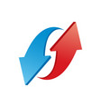 red and blue 3d shiny arrows on white background vector image vector image