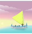 sailboat on sea carrying tourists on sunset vi vector image