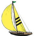 sailing ship or yacht in ocean in ink line vector image vector image