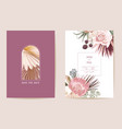 save date wedding dried protea orchid pampas vector image vector image