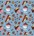 seamless pattern 2 of sweet pastries cupcake vector image