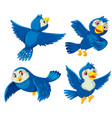 set of blue birds vector image