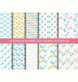 set of seamless cute butterfly patterns vector image