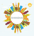 shanghai skyline with color buildings blue sky vector image vector image
