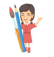 smiling girl holding big pencil and paintbrush vector image vector image