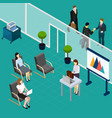 staff training office isometric composition vector image