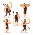stone age primitive men cartoon character set vector image vector image