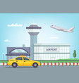urban background with airport building airplane vector image vector image
